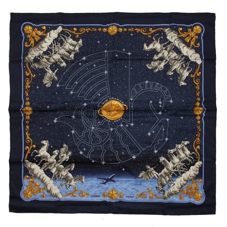 Hermes Cosmos Midnight Blue 90 cm Silk Scarf 1