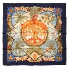 Hermes Blue Aloha Silk Scarf 90 cm