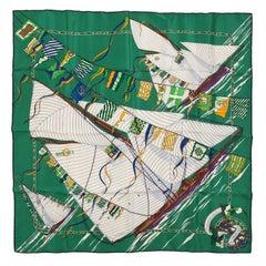 Hermes Claque au Vent 90 cm Silk Scarf- Green