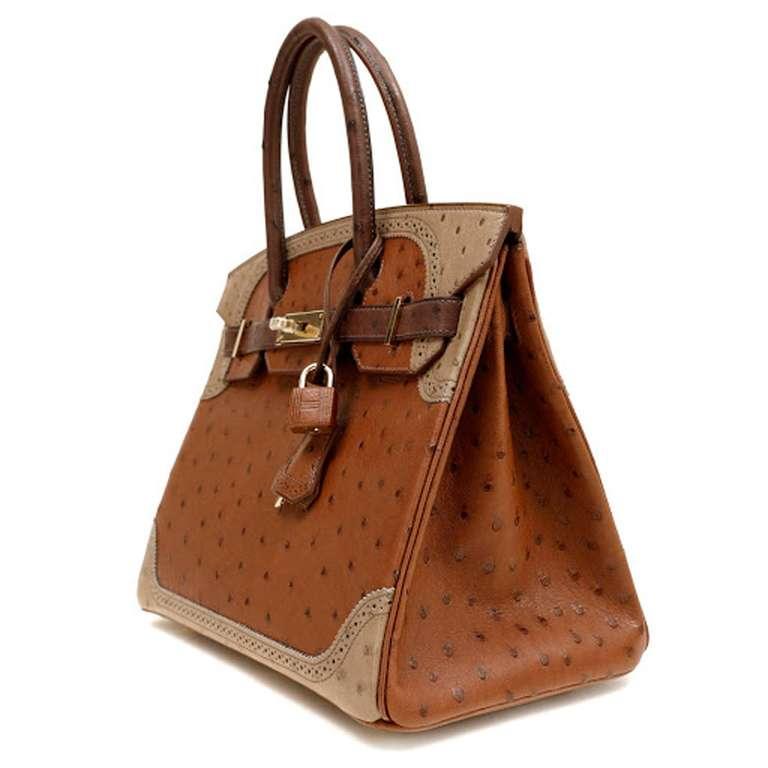 brown and orange colour hermes bag