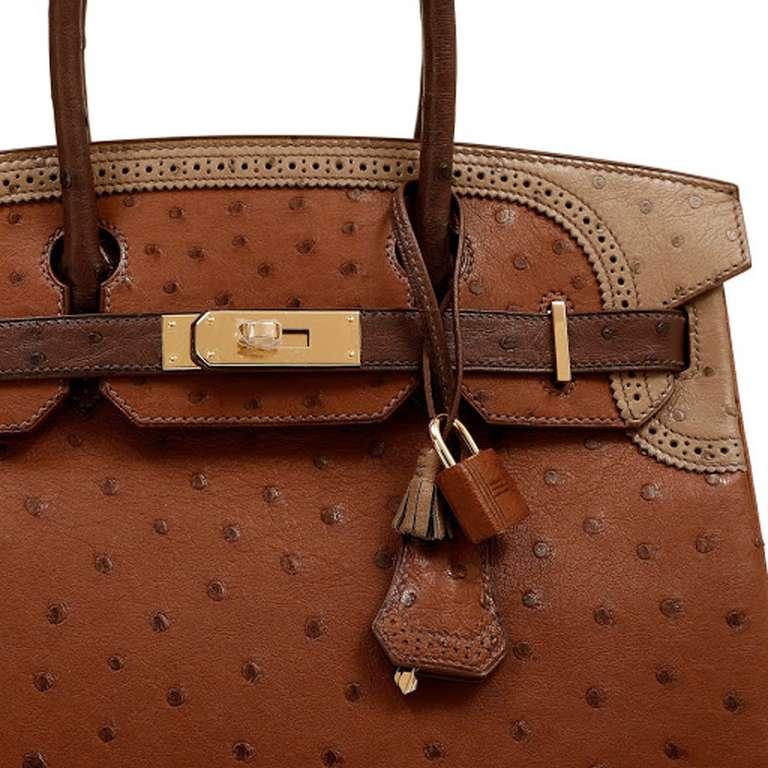 Hermes Limited Edition Tri Color Ostrich Ghillies Birkin Bag 3
