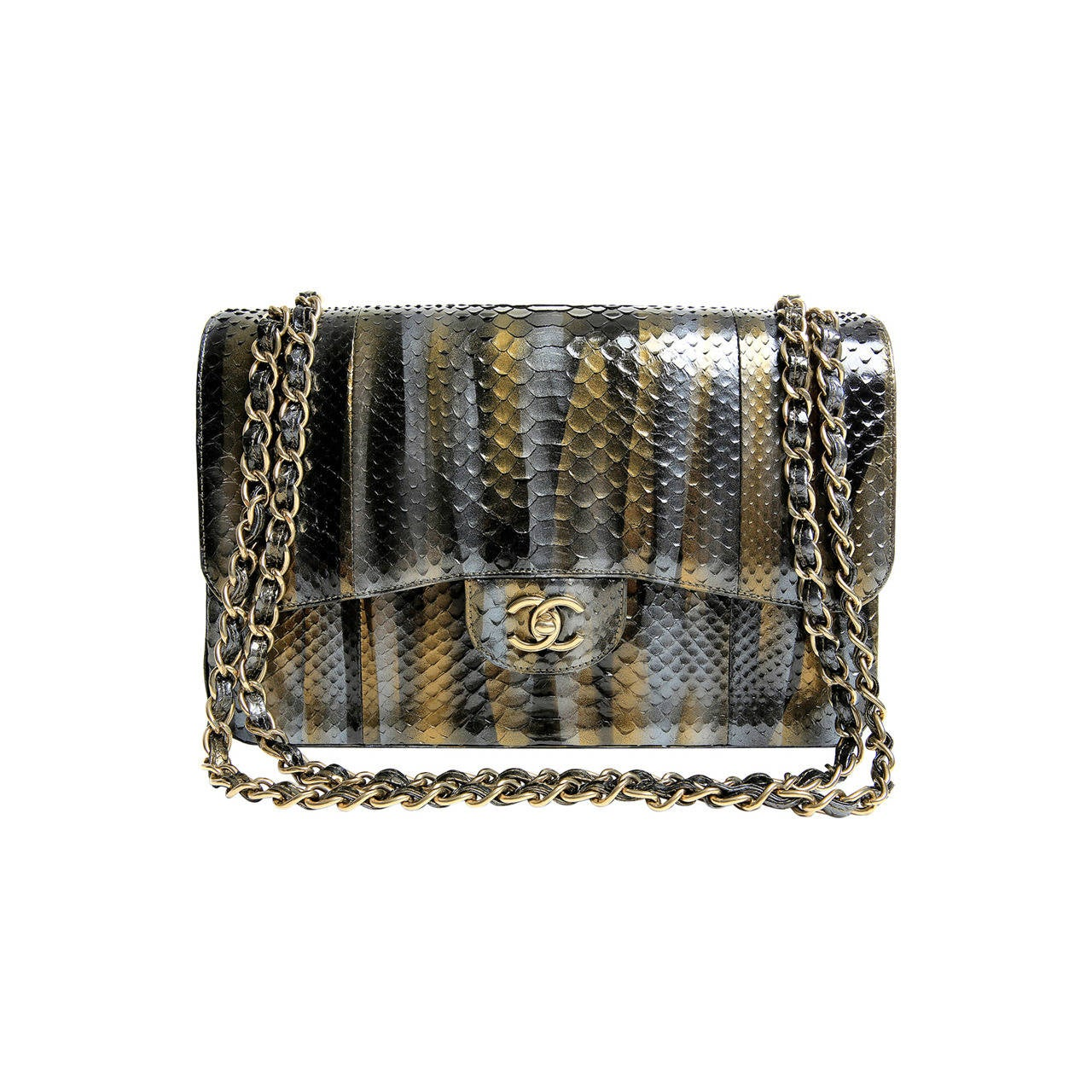 Chanel Jumbo Classic Metallic Python- Double Flap For Sale
