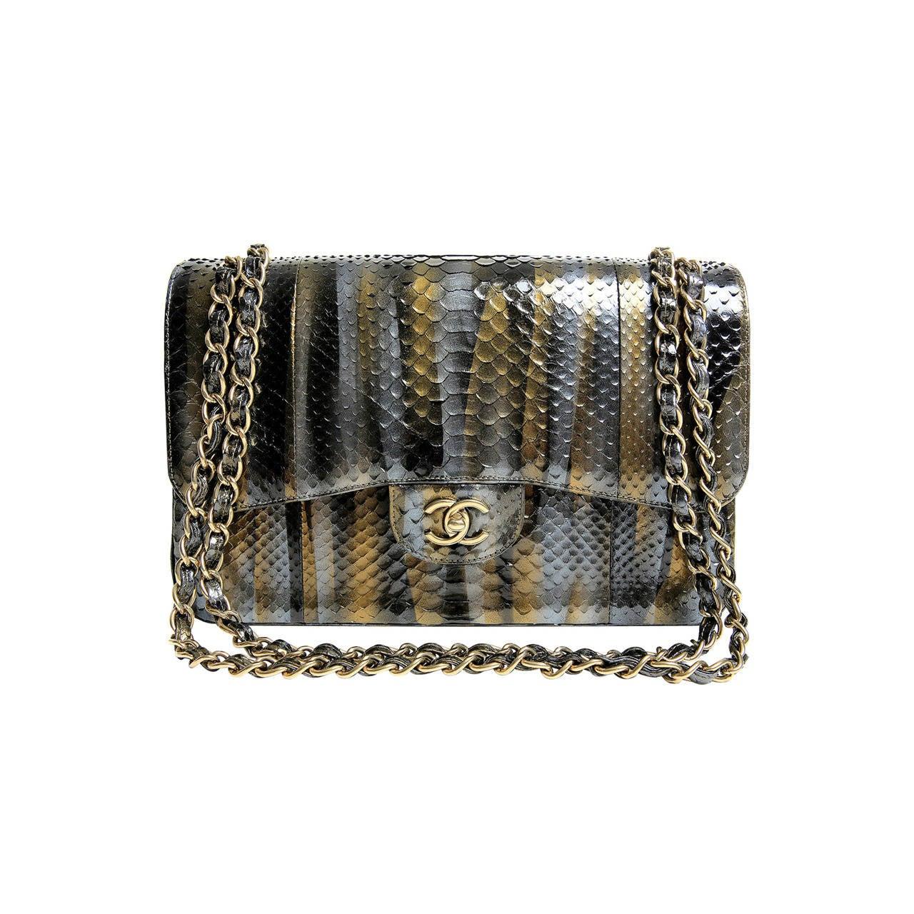Chanel Jumbo Classic Metallic Python- Double Flap 1