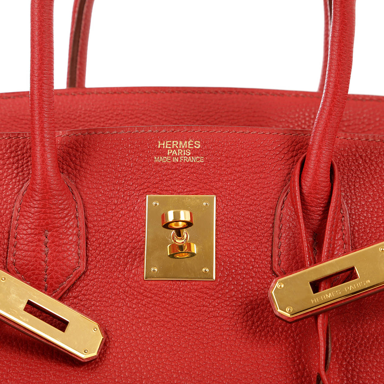 Hermes Red Leather 35 cm Birkin Bag- RED TOGO with GOLD hardware ...