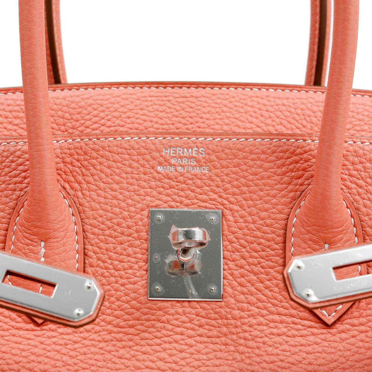Hermes Crevette Togo 35 cm Birkin Bag- Salmon Pink Color For Sale 4
