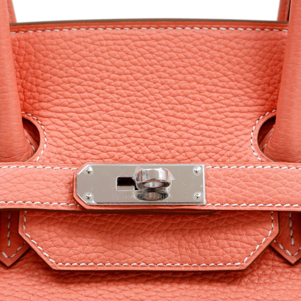Hermes Crevette Togo 35 cm Birkin Bag- Salmon Pink Color For Sale 3