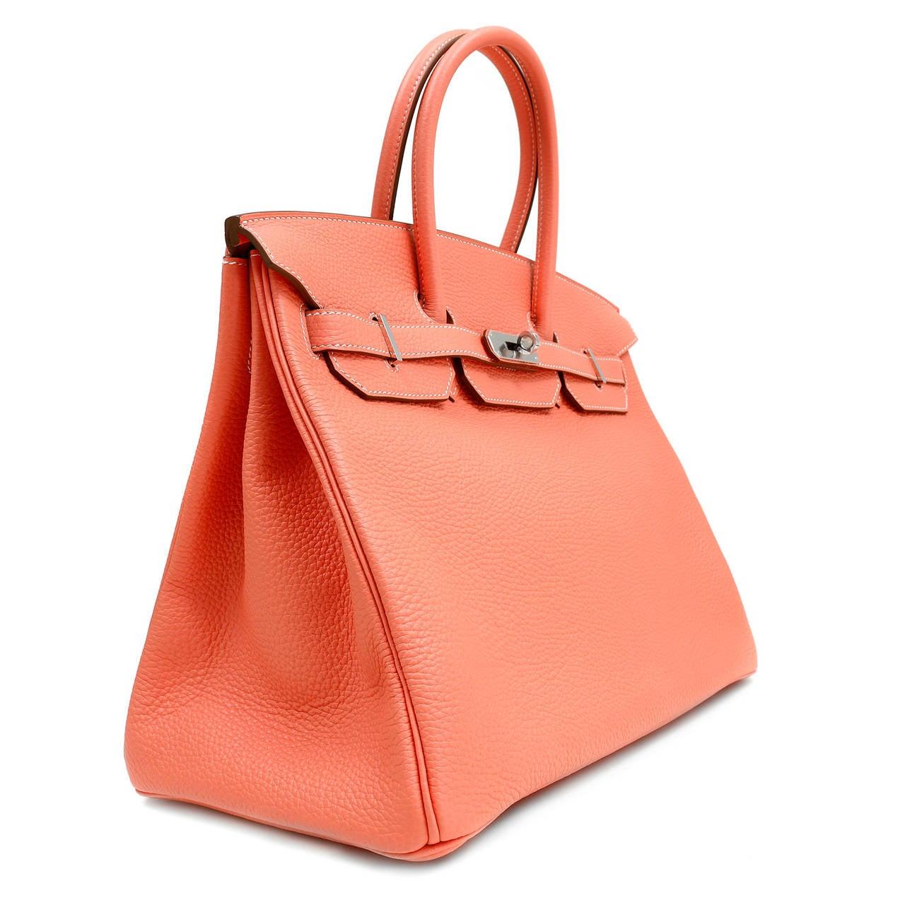 Orange Hermes Crevette Togo 35 cm Birkin Bag- Salmon Pink Color For Sale
