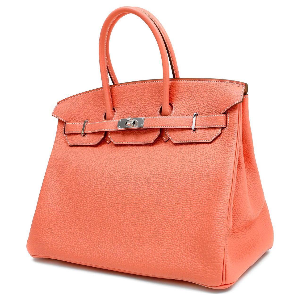 Hermes Crevette Togo 35 cm Birkin Bag- Salmon Pink Color In New Never_worn Condition For Sale In Malibu, CA