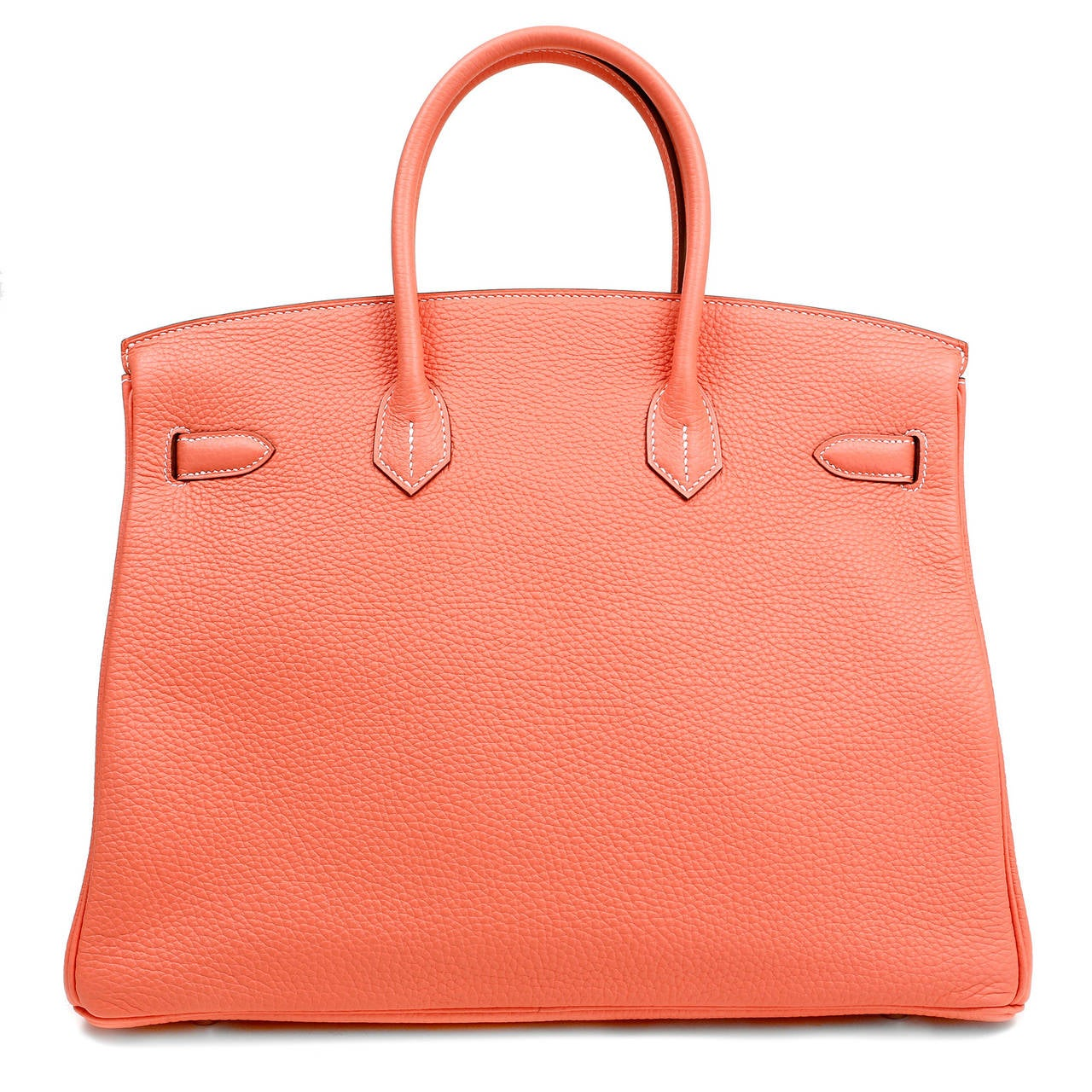 Hermès Crevette Togo 35 cm Birkin- PRISTINE unworn condition with the protective plastic intact on the hardware.     Hand stitched by skilled craftsmen, wait lists of a year or more are commonplace for the intensely coveted Birkin.  This