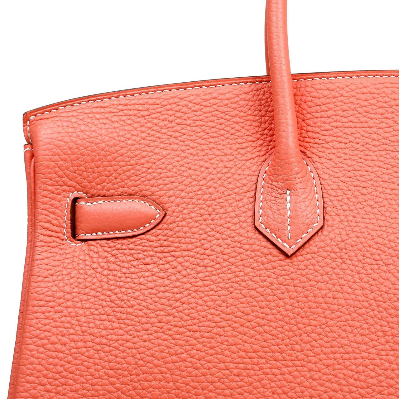 Hermes Crevette Togo 35 cm Birkin Bag- Salmon Pink Color For Sale 5