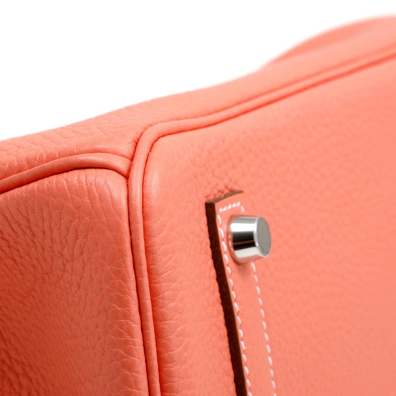 Hermes Crevette Togo 35 cm Birkin Bag- Salmon Pink Color For Sale 2