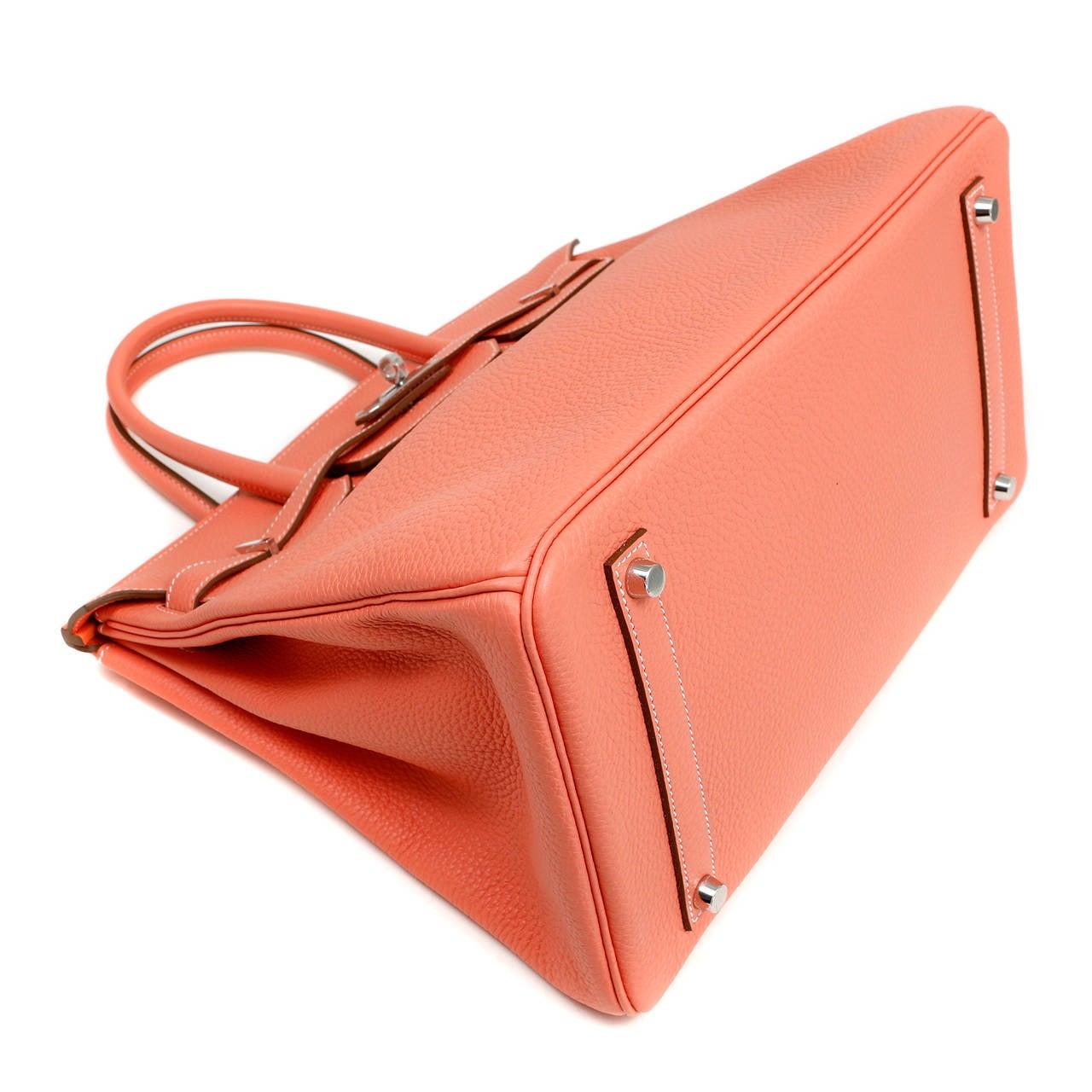 hermes birkin pink ostrich leather - hermes crevette togo 35 cm birkin bag- salmon pink color, hermes ...