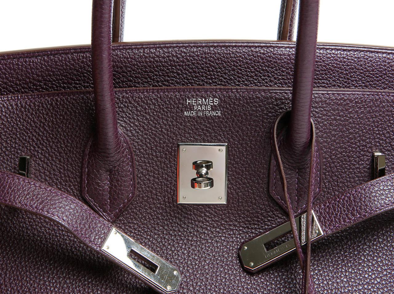 Hermes Togo Leather RAISIN Purple Birkin Bag 35 cm at 1stdibs