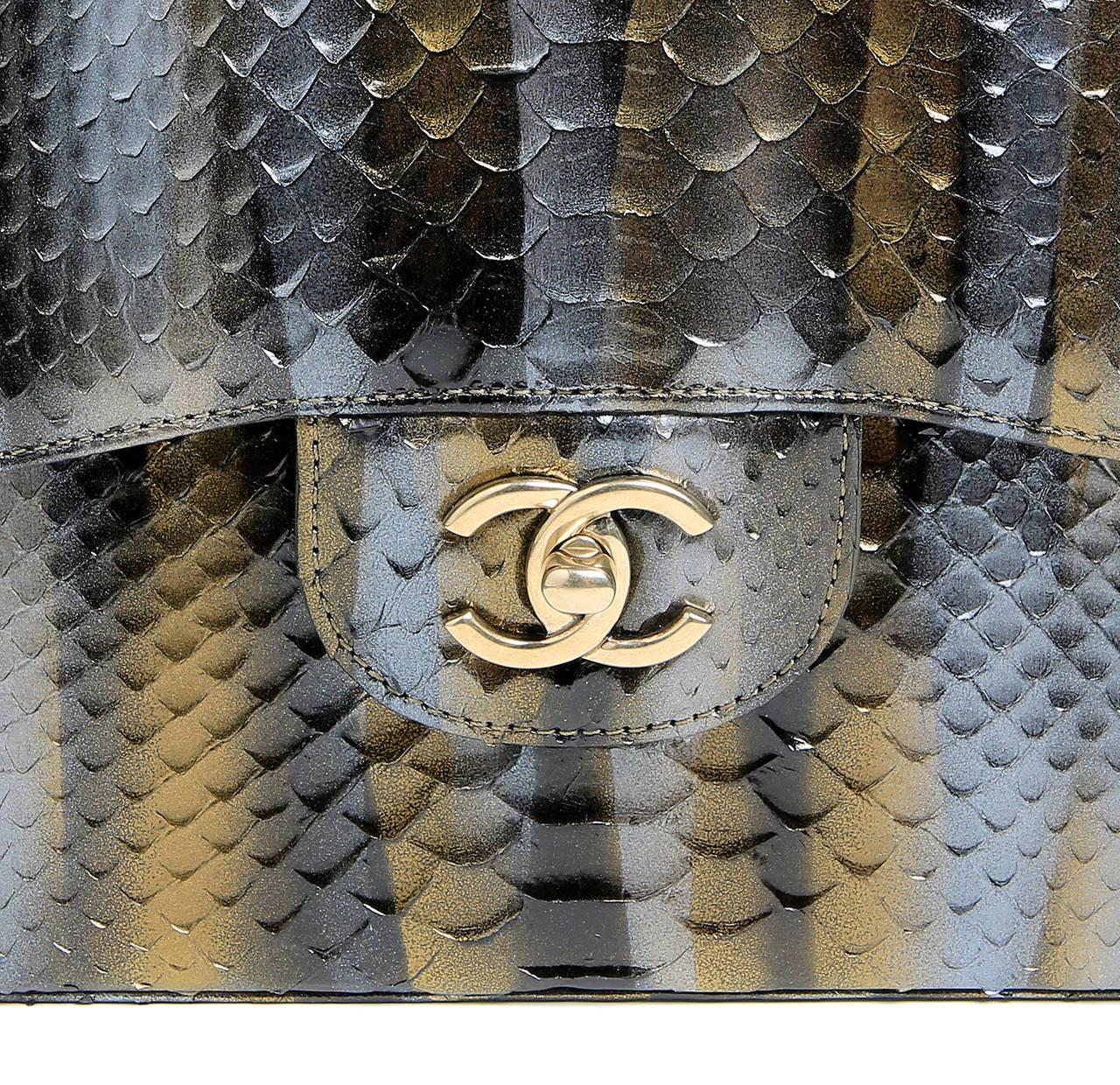 Chanel Jumbo Classic Metallic Python- Double Flap 5