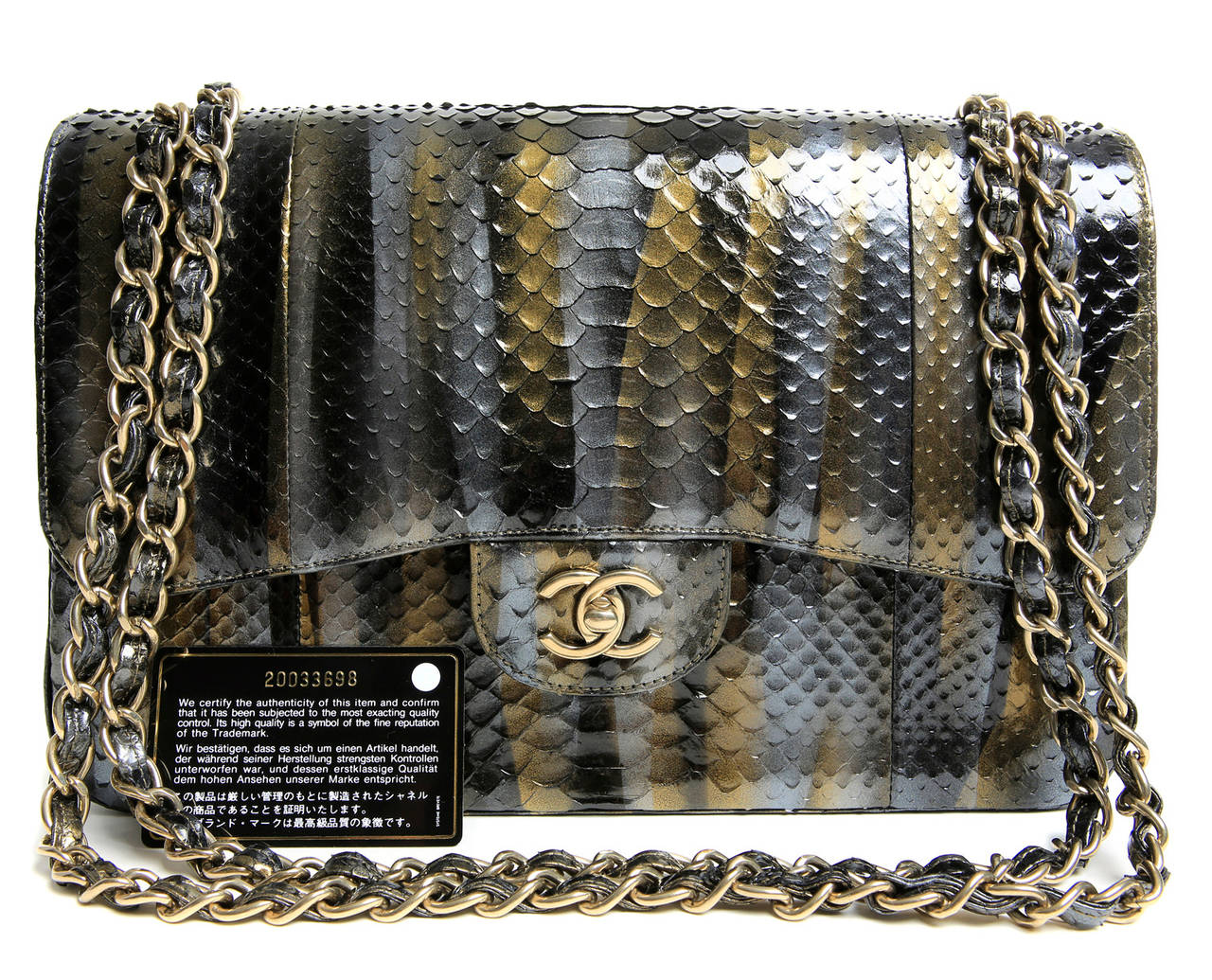 Chanel Jumbo Classic Metallic Python- Double Flap For Sale 5