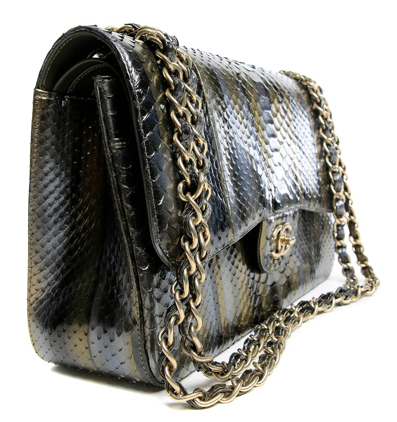Black Chanel Jumbo Classic Metallic Python- Double Flap For Sale