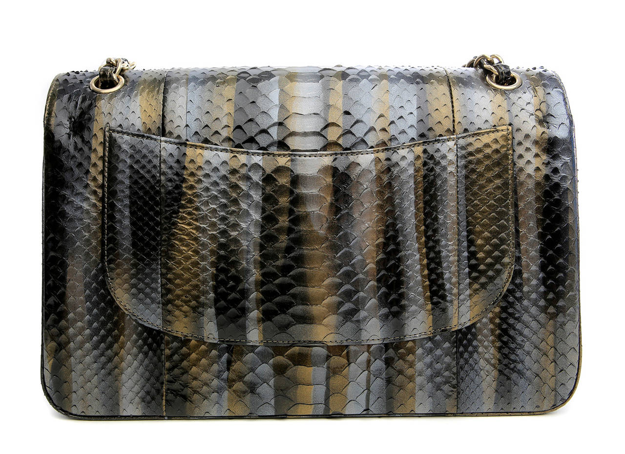 Chanel RARE Metallic Python Jumbo Classic - pristine unworn condition.  