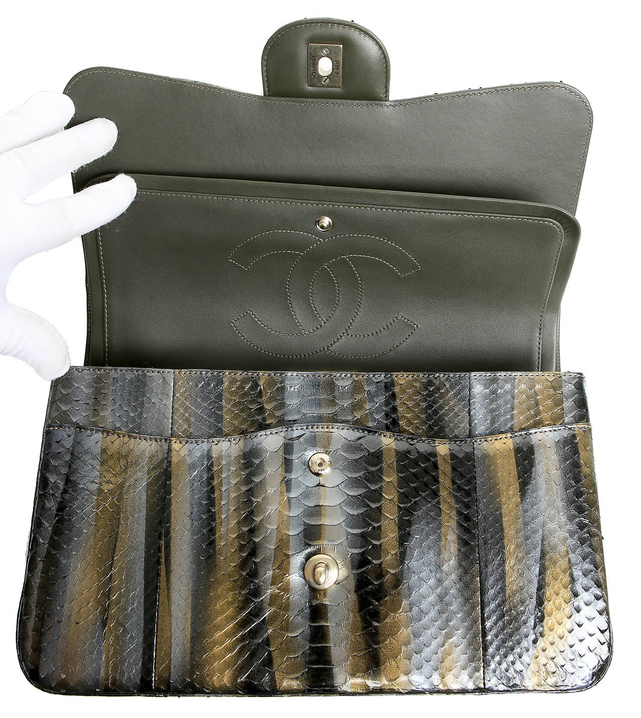 Chanel Jumbo Classic Metallic Python- Double Flap For Sale 1