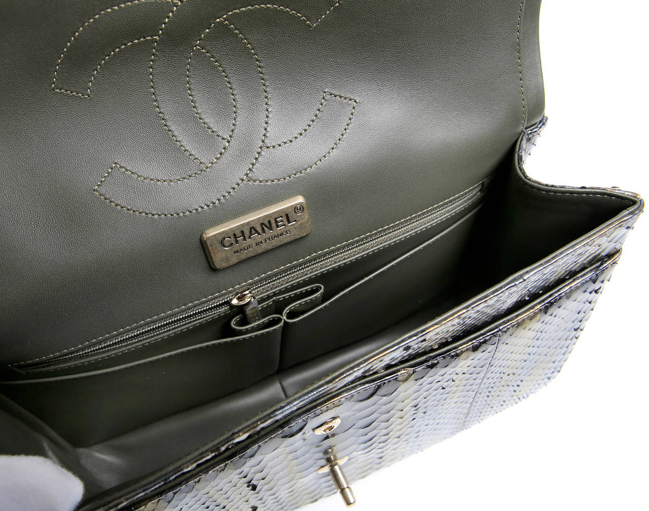 Chanel Jumbo Classic Metallic Python- Double Flap 7