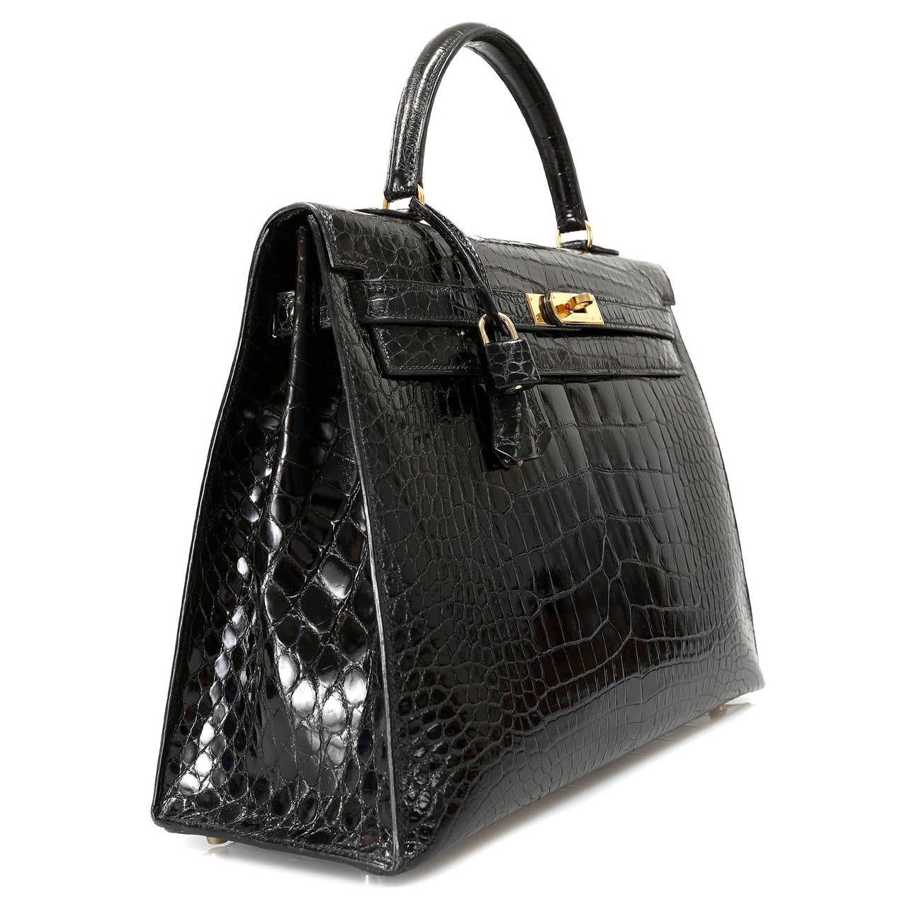 Hermes Black Alligator Kelly Bag- 35cm with Gold For Sale at 1stdibs
