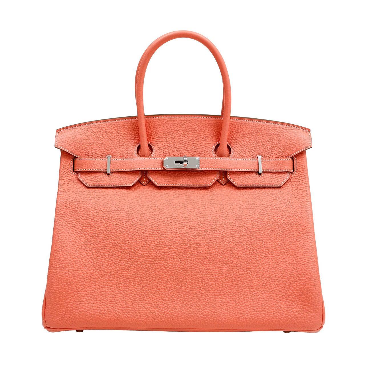 Hermes Crevette Togo 35 cm Birkin Bag- Salmon Pink Color For Sale
