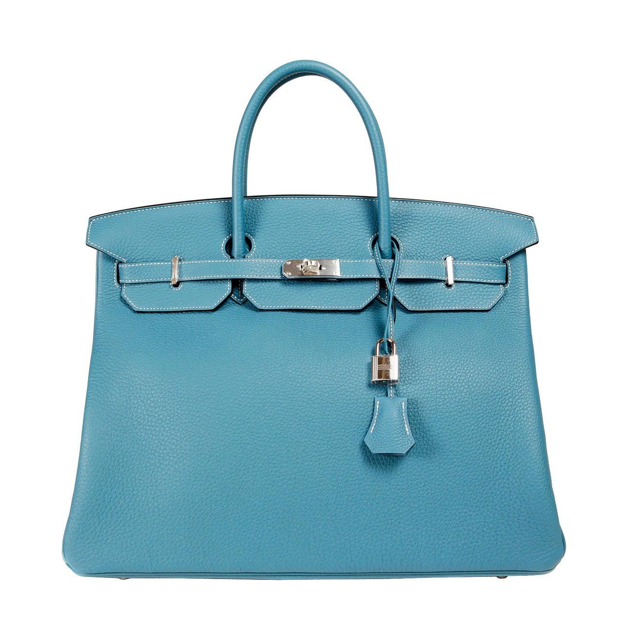 birkin tote bag - Hermes Blue Jean Birkin Bag- 40 cm Togo Leather PHW For Sale at ...