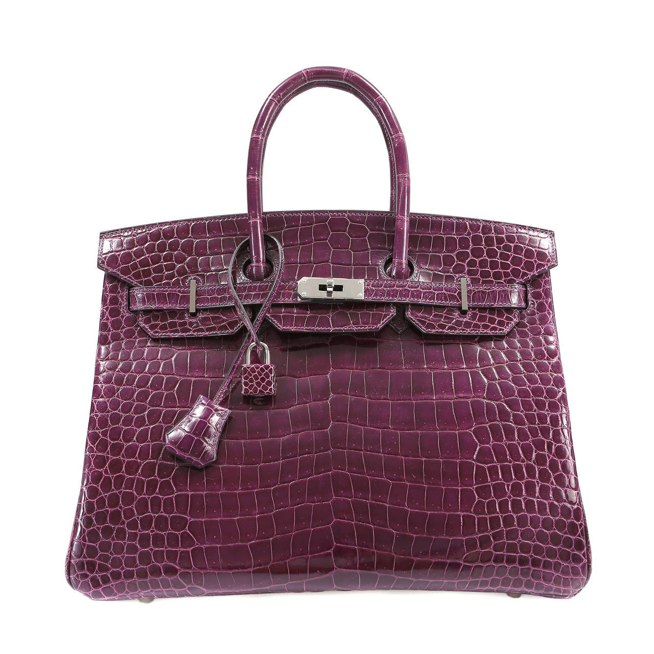 Hermes Cassis Purple Porosus Crocodile Birkin 35 cm For Sale