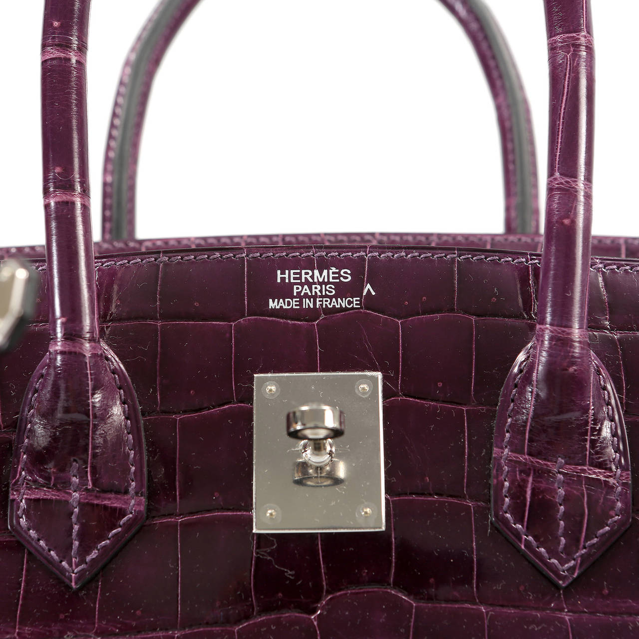 Hermes Cassis Purple Porosus Crocodile Birkin 35 cm For Sale 2