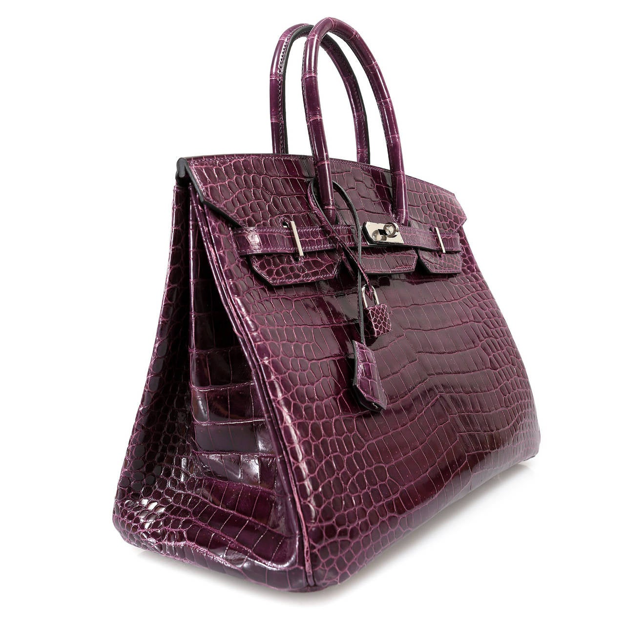 Hermes Cassis Purple Porosus Crocodile Birkin 35 cm In New Never_worn Condition For Sale In Malibu, CA