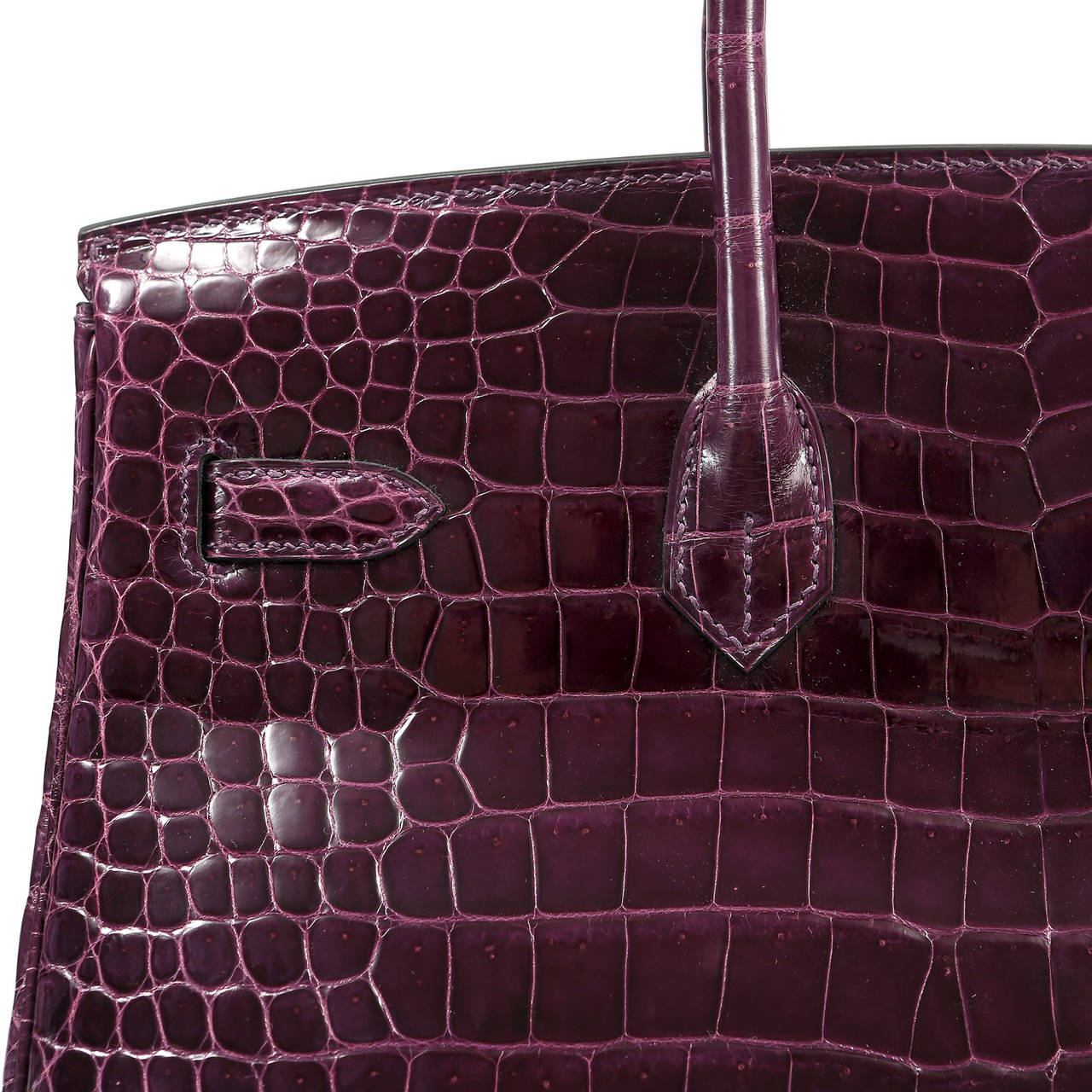 Hermes Cassis Purple Porosus Crocodile Birkin 35 cm For Sale 6