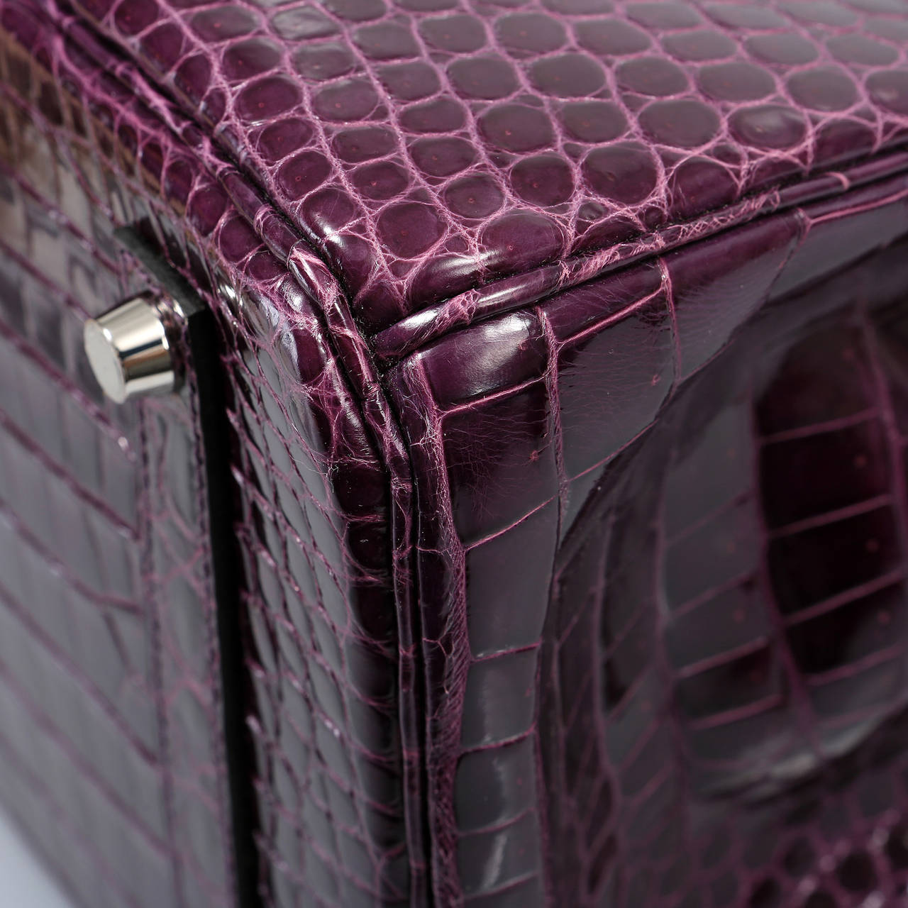 Hermes Cassis Purple Porosus Crocodile Birkin 35 cm For Sale 1