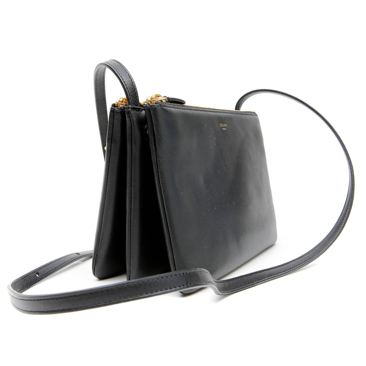 Celine Black Leather Trio Cross Body at 1stdibs