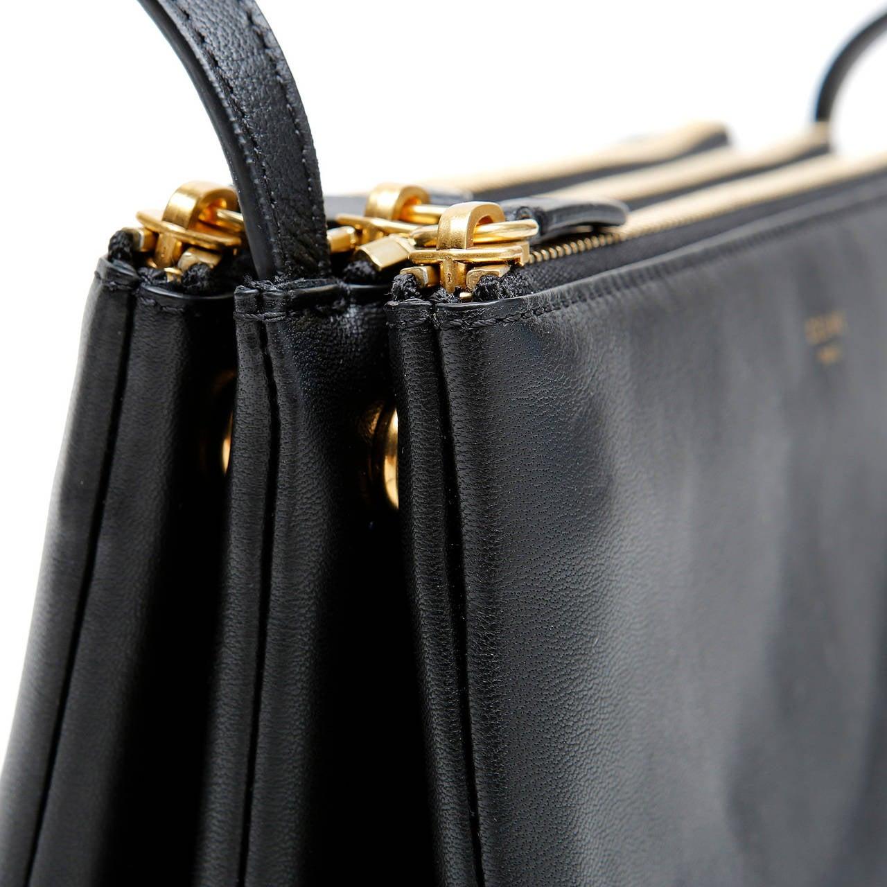 Celine Black Leather Trio Cross Body For Sale 4