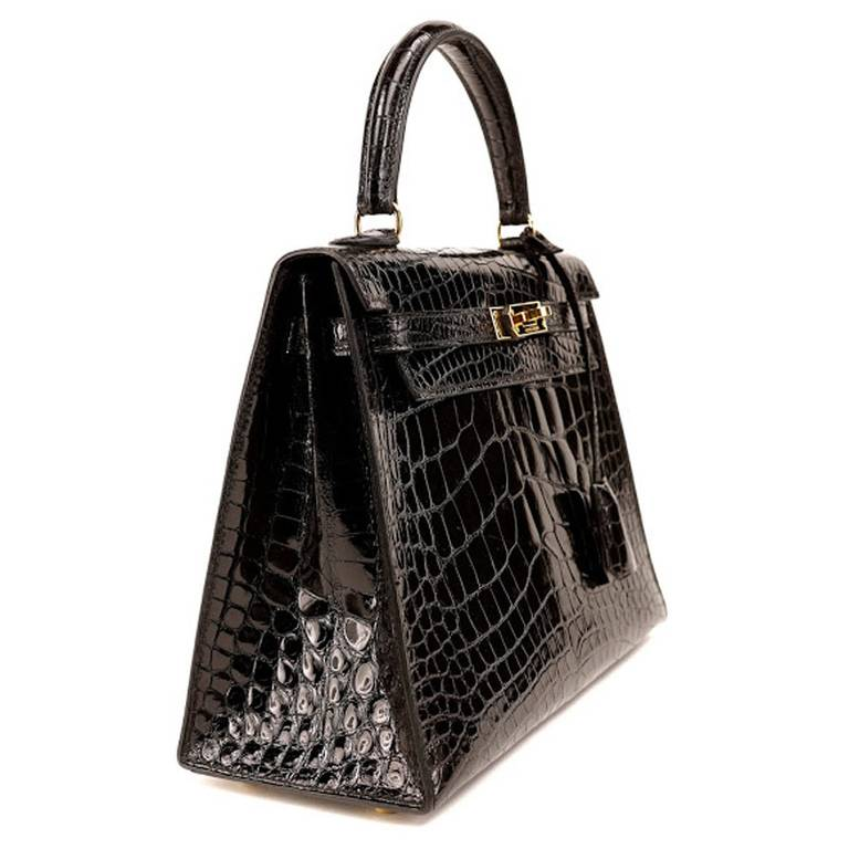 brighton knockoffs - Hermes Black Crocodile Kelly Bag - 25cm at 1stdibs
