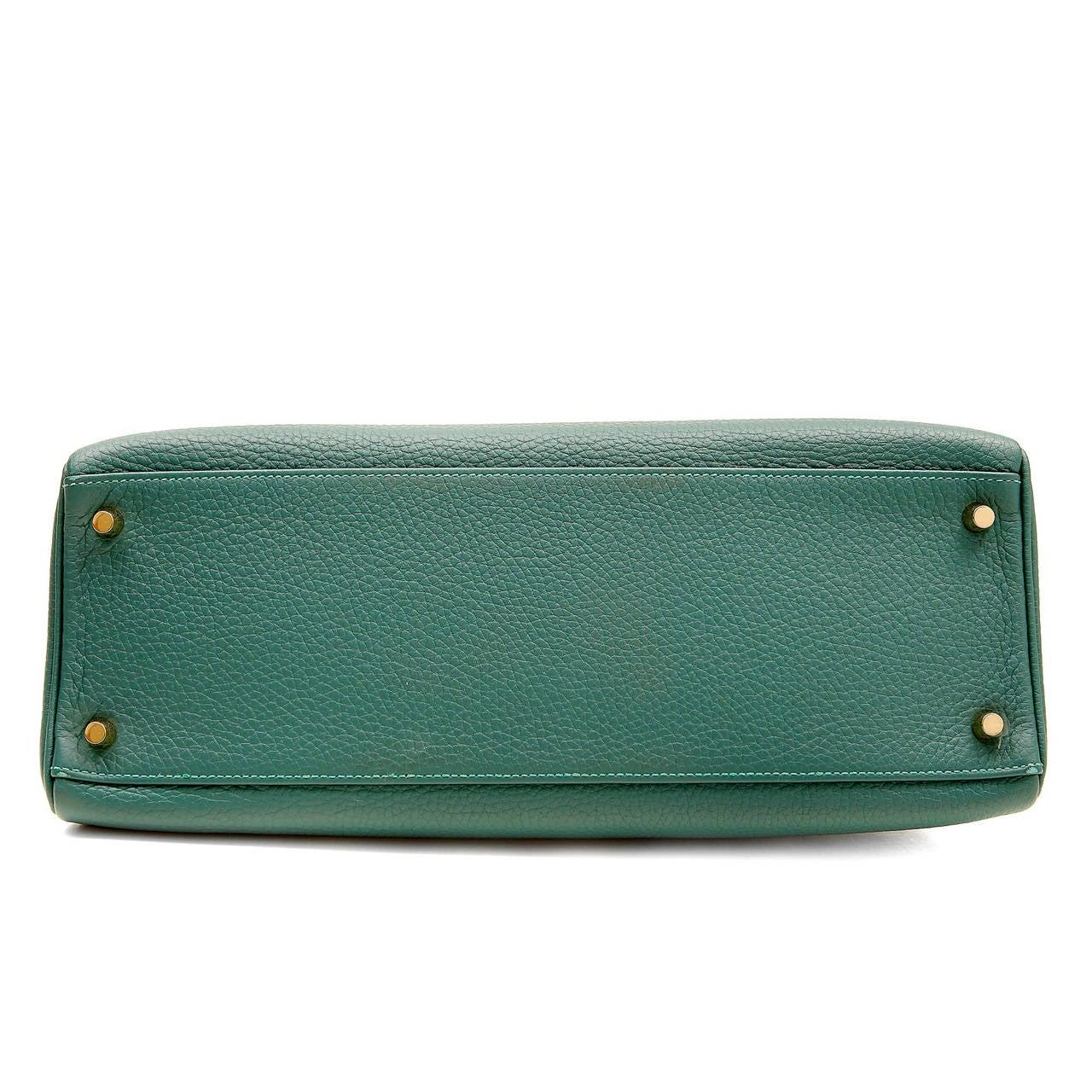 Hermes Malachite Green Togo 35 cm Kelly Bag at 1stdibs