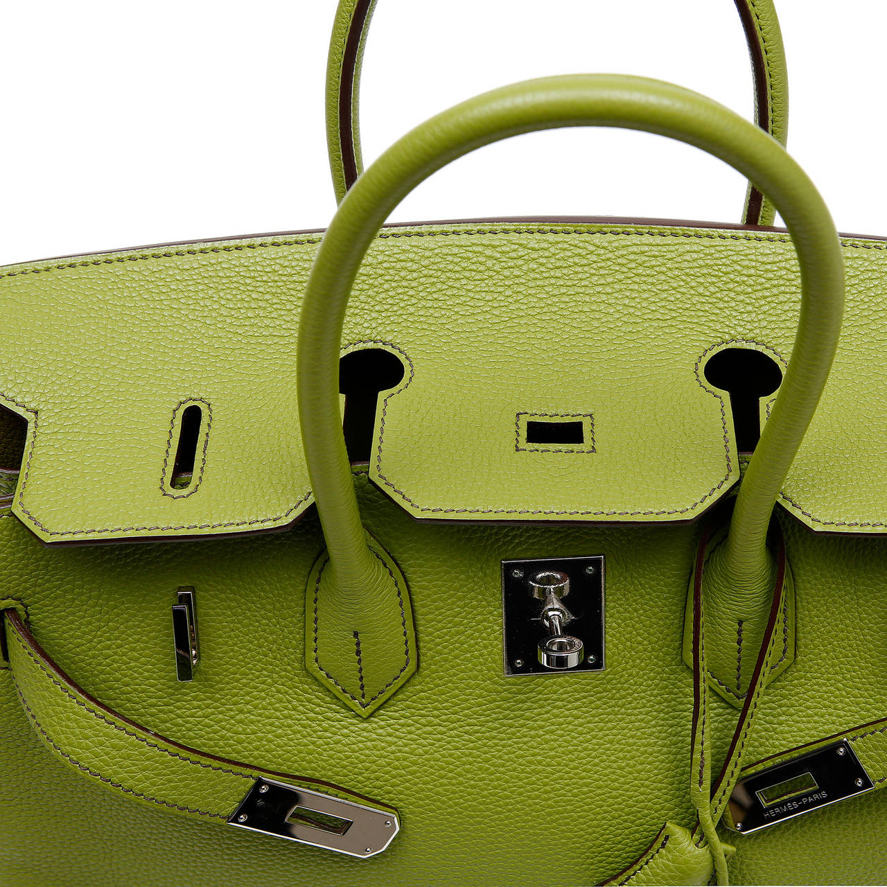 Hermes Vert Anis Green Togo  35 cm Birkin with PHW For Sale 2