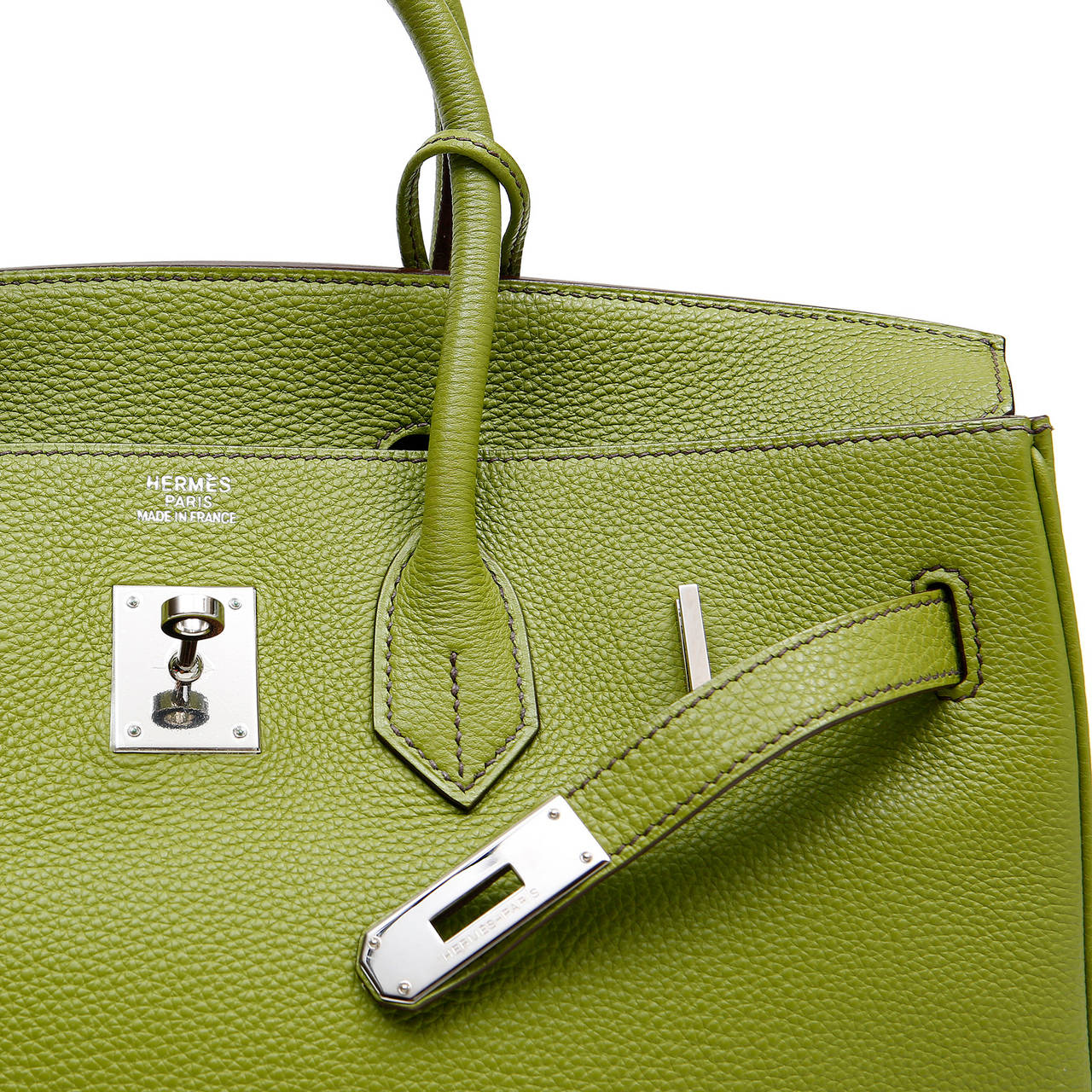Hermes Vert Anis Green Togo  35 cm Birkin with PHW For Sale 1