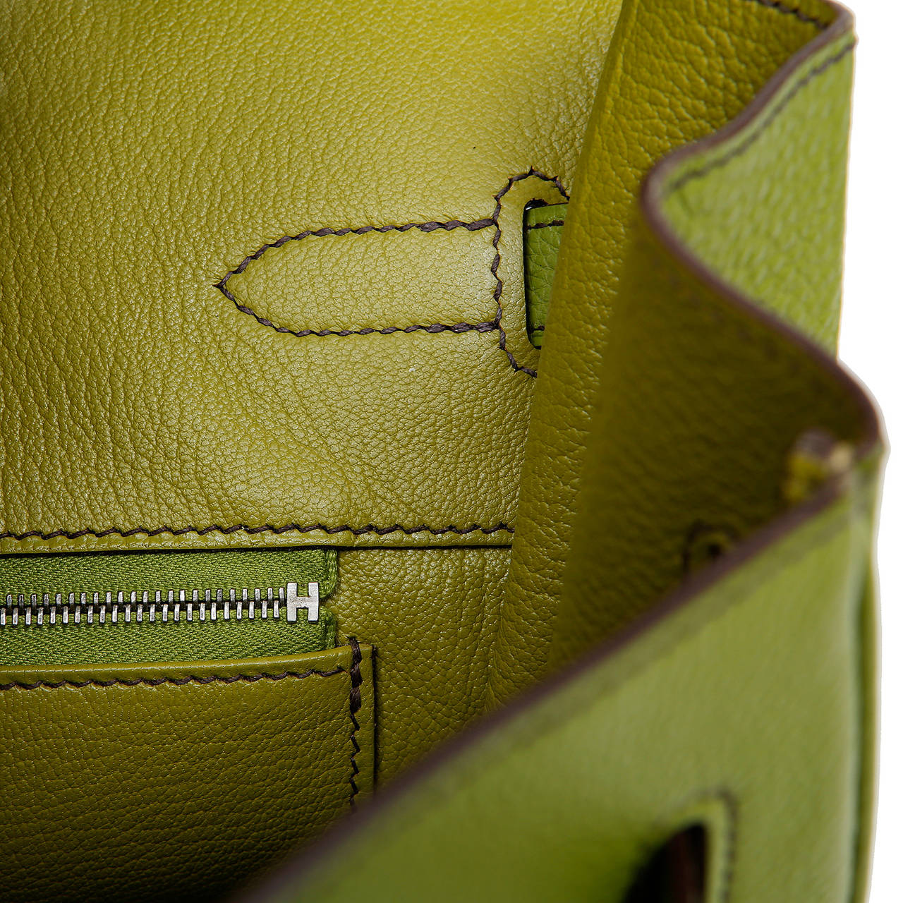 Hermes Vert Anis Green Togo  35 cm Birkin with PHW For Sale 5