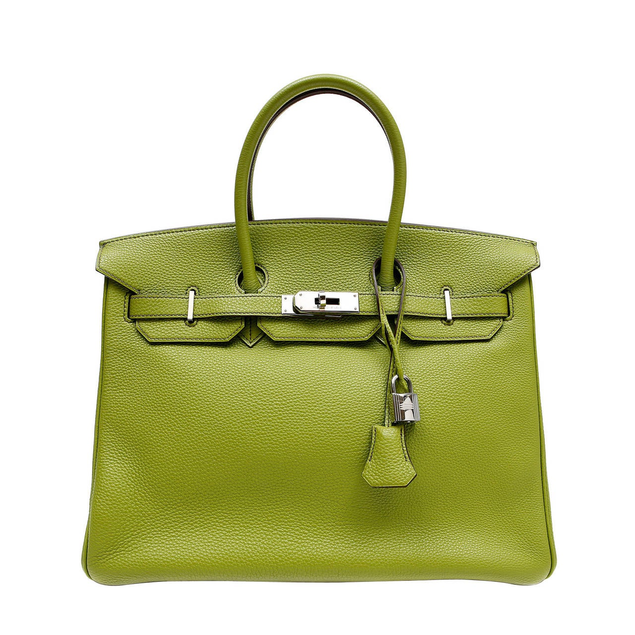 Hermes Vert Anis Green Togo  35 cm Birkin with PHW For Sale