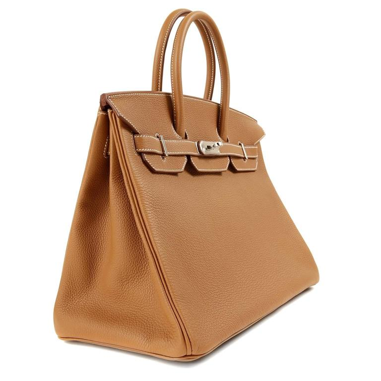Hermes Gold Togo Birkin- 35 cm PHW  In New Never_worn Condition For Sale In Malibu, CA