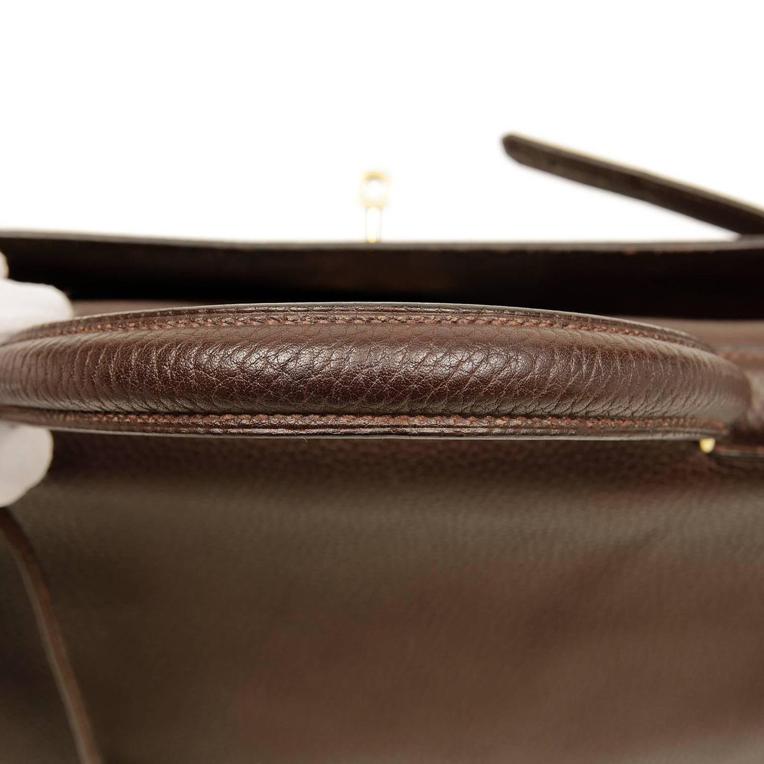 Herm��s Chocolate Togo 35 cm Kelly with Gold Hardware For Sale at ...