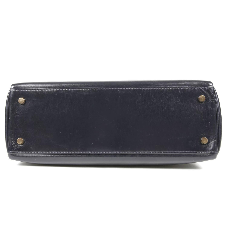 Hermes Navy Blue Box Calf Vintage Kelly- 32 cm For Sale at 1stdibs