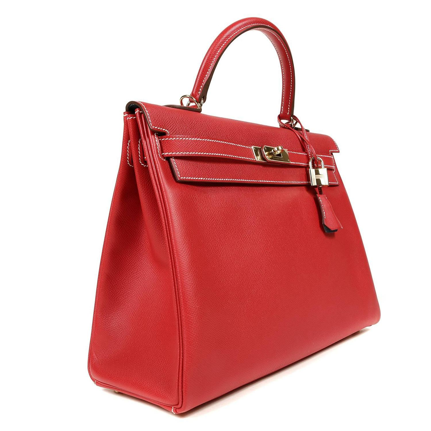 Herm 232 S Rouge Casaque With Blue Jean Interior Kelly 35 Cm