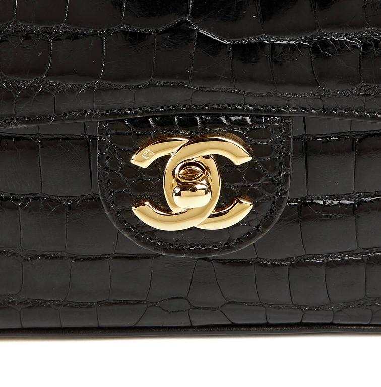 Chanel Black Crocodile Vintage Mini Classic 6