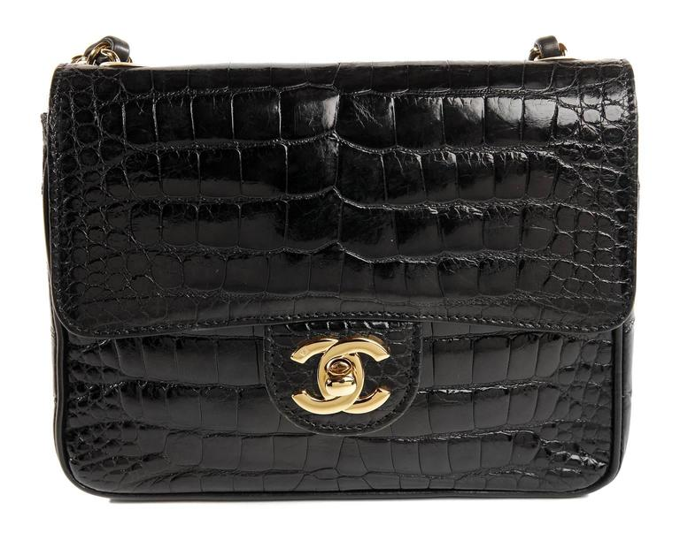 Chanel Black Crocodile Vintage Mini Classic 5