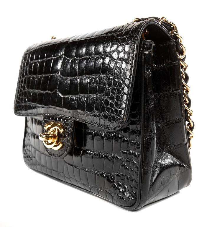 Chanel Black Crocodile Vintage Mini Classic 3