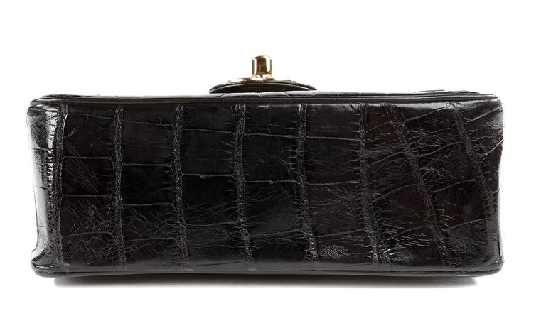 Chanel Black Crocodile Vintage Mini Classic 4