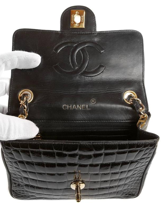 Chanel Black Crocodile Vintage Mini Classic 7