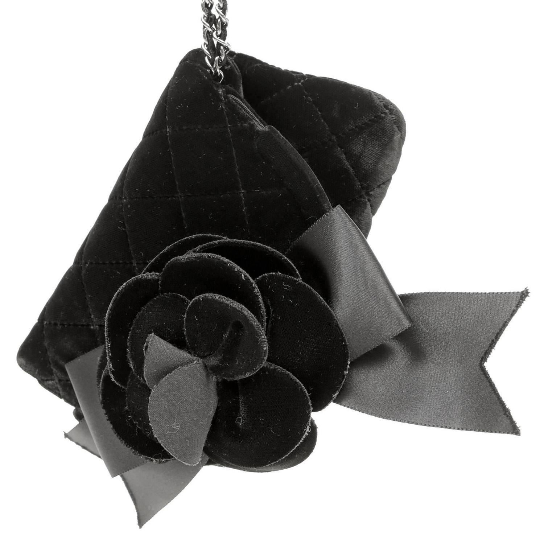 Black Flower 21st Century Op Art Set: Chanel Black Velvet Camellia Flower Wristlet At 1stdibs