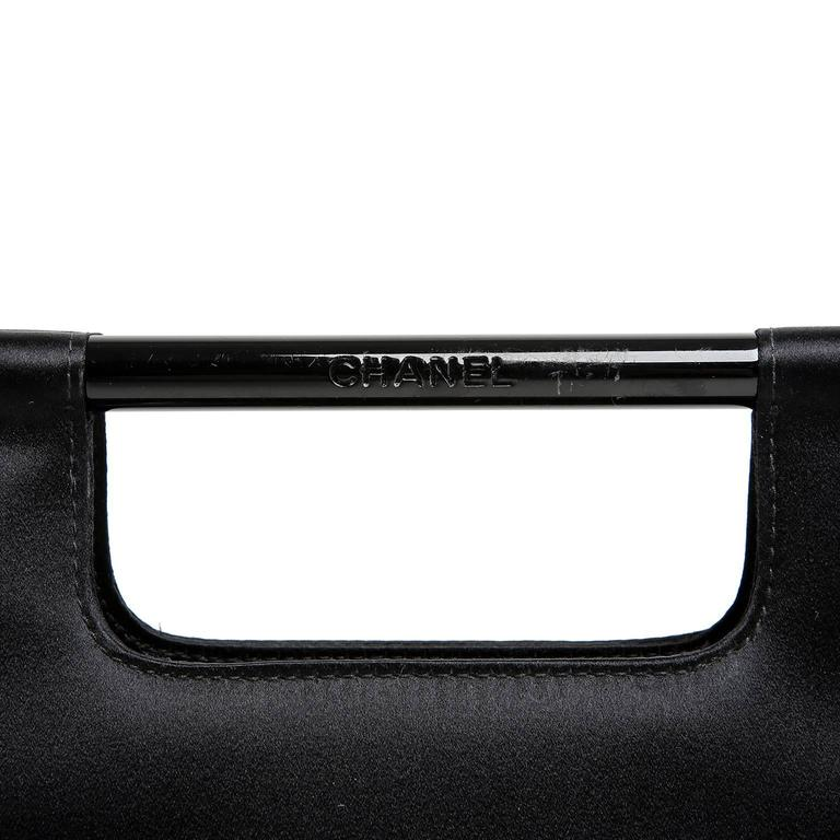 Chanel Black Satin Evening Bag Clutch For Sale 2
